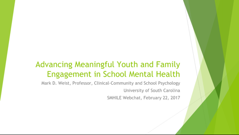 Advancing Meaningful Youth and Family Engagement in School Mental Health Slide Image