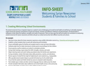 INFO-SHEET Welcoming Syrian Newcomer Students & Families to School Document